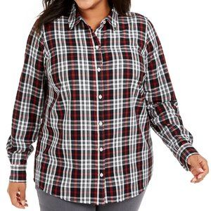 Charter Club Plaid Button-Up Shirt 0X